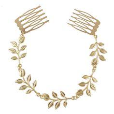 Nueva joyería del pelo cadena de Color oro diseño de la hoja peinetas Hairwear para Fahsion mujeres