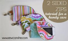 Today's Tutorial: My 2 Sided Zipper Pouch with bling! -