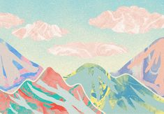 Orie's mountain art. #山 #山の絵 #山イラスト #山アート #mountainart #popart Mountains, Painting, Painting Art, Paintings, Painted Canvas, Drawings, Bergen