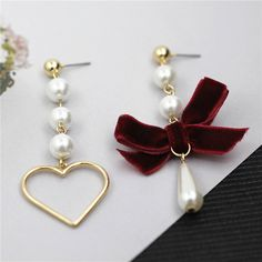 2017 free shipping fashion new ladies jewelry pin Velvet bow imitation pearl love zinc alloy lady wild temperament earrings