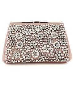 Valentino Blush Satin Glam Crystal Clutch