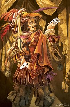 Mascarade - Le tricheur : Jeremy Masson Tarot, Pen & Paper, Dnd Characters, Fictional Characters, Fantasy Rpg, Game Art, Board Games, Illustration Art, Illustrations