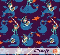 Lillestoff Knight and Dragons GOTS jersey 50cm x 150cm