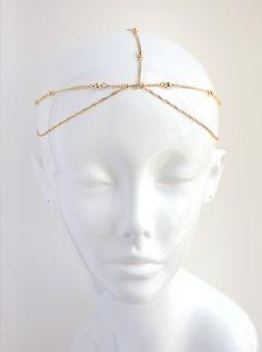 Gold Hair Chain Headpiece Hair Jewelry Gypsy by AmyOHandmade