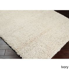 Hand Woven Kate New Zealand Felted Wool Shag Area Rug (5' x 8') (Ivory-(5' x 8')), Ivory, Size 5' x 8' (Natural Fiber, Solid)