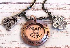 Hand Stamped Crazy Cat Lady Locket Style Necklace by talktothepaws, $32.00