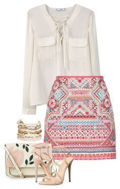 """""""Untitled #2699"""" by carmelaromio ❤ liked on Polyvore featuring MANGO, Accessorize, Schutz and Panacea"""