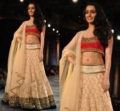 e the ever charming and feel out the desi girl in yourself with the unique combination of black and peach in the #DesignerLehenga Choli, which is exclusively flaunted by the gorgeous #Shraddha #Kapoor.. #Lashkaraa.com #lehenga #lehengas #lehengacholi #bridallehenga #lehengastylesaree #lehengaonline