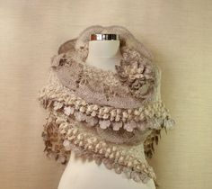 Angel Heart / Luxury Crochet Bridal Shawl Champagne Grey Silver Gold Triangle Ruffle Shawl Bolero Wedding Bridesmaid Shawl Wrap By Lilithist. $175.00, via Etsy. (Also had in different colors)