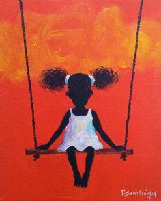 Painting by Adrian Gomez. Black Art Painting, Black Artwork, Afrique Art, African Art Paintings, Black Art Pictures, Caribbean Art, Art Africain, Black Girl Art, African American Art