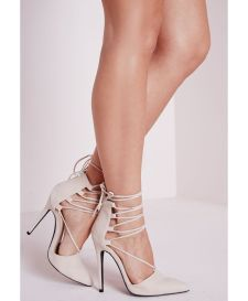 Missguided - Lace Up Pointed Toe Heels Nude