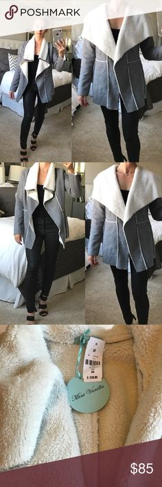 NWT LF GREY SUEDE & SHEEPSKIN JACKET - XS NWT LF GREY SUEDE & SHEEPSKIN JACKET - XS. RETAIL: $228. This gorgeous LF jacket is the perfect holiday gift to yourself or someone else on you gift list! So comfortable and warm, the grey suede jacket is lined w plush sheepskin and enough room to fit a long sleeve top underneath. Don't miss out on this one of a kind jacket! LF Jackets & Coats