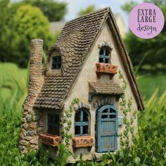 fairy house is quite large. Note: All our opening door fairy homes are desi. This fairy house is quite large. Note: All our opening door fairy homes are desi. , This fairy house is quite large. Note: All our opening door fairy homes are desi. Clay Fairy House, Gnome House, Mini Fairy Garden, Fairy Garden Houses, Fairy Gardening, Vegetable Gardening, Container Gardening, Clay Houses, Ceramic Houses
