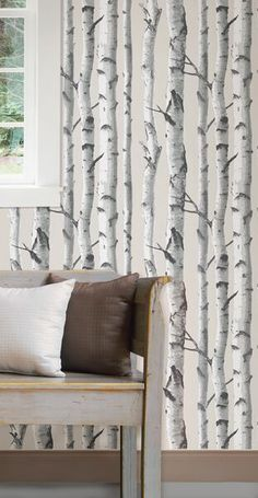 Birch Tree Peel And Stick Wallpaper - Wall Sticker, Mural, & Decal Designs at Wall Sticker Outlet Vinyl Wallpaper, Birch Tree Wallpaper, Wallpaper Samples, Wallpaper Roll, Peel And Stick Wallpaper, Tree Wallpaper Bedroom, Farmhouse Wallpaper, Scenic Wallpaper, Flats