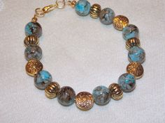 Golden Blue Brown Glass Bracelet by EriniJewel on Etsy, $16.00