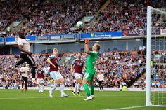 Romelu Lukaku of Man Utd scores their goal past Burnley goalkeeper Joe Hartduring the Premier League match between Burnley and Manchester United at Turf Moor on September 2018 in Burnley,. Premier League Matches, Burnley, Goalkeeper, Manchester United, Scores, Past, The Unit, Goals, Goaltender