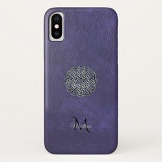 Muted Purple Leather Celtic Knot Monogram iPhone X Case - antique gifts stylish cool diy custom