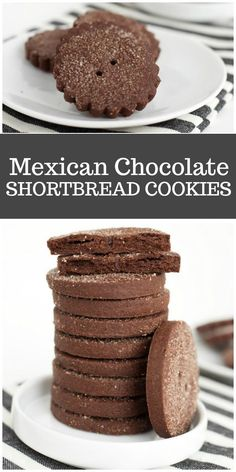 These Mexican Chocolate Shortbread Cookies are a crispy little cookie. They're chocolate with a hint of smoky spice. Cookie Desserts, Just Desserts, Cookie Recipes, Cookie Cups, Chocolate Shortbread Cookies, Shortbread Recipes, Short Bread, Cookies Receta, Mexican Cookies