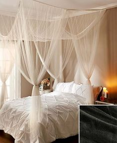 Add a touch of romance and interest with this sheer bed canopy. Even if you don't have a four-poster bed, give the illusion of a grand space with this bedroom décor.