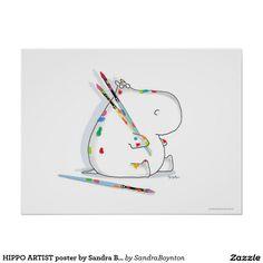 HIPPO ARTIST poster by Sandra Boynton