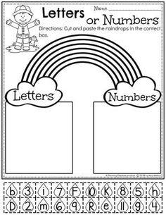 Rainbow Preschool Worksheets - Number or Letter Sort. #letterworksheets #preschoolworksheets #springworksheets #rainbowworksheets #preschool