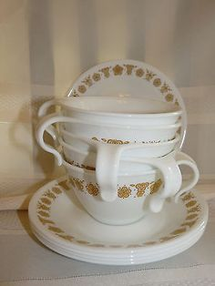 Corelle dishes set of 5 cup and saucers set white & Harvest Gold Butterfly EEC