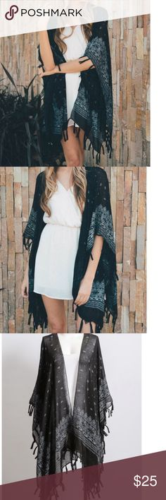 ❕2 LEFT❕Black & White Paisley Fringe Kimono ONLY 2 LEFT!! Cute and flirty bohemian kimono/ shawl/ cardigan. In black color with white paisley pattern. Cute fringe detail. One size fits most. Lightweight and flowy. Items come new in packaging, but there are no tags. I'm happy to answer any questions you may have! BUNDLE TO SAVE! Accessories