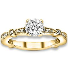 0.76 ctw 14k YG Natural I-J Color, VS - SI  Clarity, Accent Diamonds Engagement Rings #Engagementrings #Rings #Ring  #jewelry @pricepointshop
