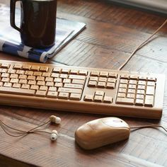 Bamboo Keyboard, mouse and earbuds. Environmentally friendly tech :)