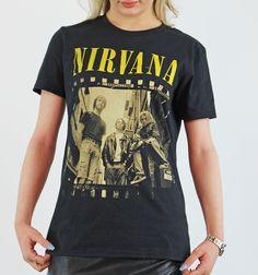 Nirvana Yellow Logo Band Photo Black Licenced Authentic T-Shirt Band Photos, Photo Black, Nirvana, Black Cotton, Rock, Yellow, Logos, Tees, Mens Tops