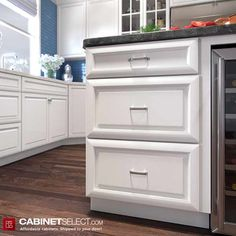 Shop K-Series White Kitchen Cabinets. The line offers solid birch wood and a provides a new color to the existing popular K-series. Birch Kitchen Cabinets, Kitchen Cabinets On A Budget, Rta Cabinets, Painting Kitchen Cabinets, White Cabinets, Plywood Shelves, Veneer Door, Types Of Cabinets