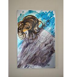 REAL VINTAGE  Aluchromie de Charles Meire représentant une femme nue. Signée et datée de 1974. Dimensions: 100cm  x 66cm x 3 cm  SHOP ONLINE : www.vintagemarket.be