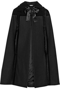 Alexander McQueen Hooded velvet-trimmed wool cape on shopstyle.com
