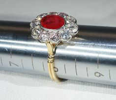 Stunning Vintage Ruby and Diamond Cluster Engagement Ring, 18k Gold from vsterling on Ruby Lane