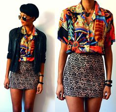 Zara Leather Jacket, Vintage Tribal Shirt, Animal Print Skirt