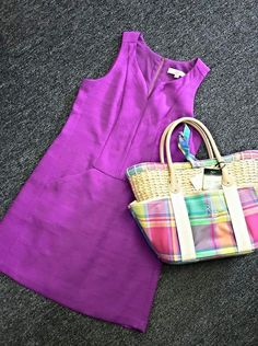 So in love with the color and the neckline of this Ann Taylor Loft dress ($32)!! We liked it paired with this great plaid tote from Ralph Lauren (NWT $60)