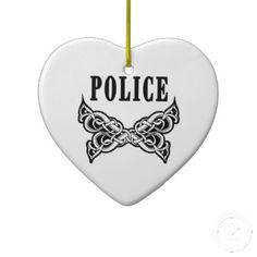 Police Tattoo Christmas Tree Ornaments