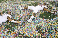 Texas A football players celebrate a 41-13 win against the Oklahoma Sooners during the Cotton Bowl.