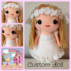 Darcy's Dolls Holy communion, custom made crochet doll. www.facebook.com/Darcysdolls