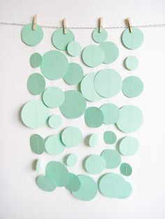 Love the mint on all things Deco Pastel, Mint Green, Blue Yellow, Orange, Circle Garland, Green Paper, Diy Tableau, Paint Chips, Party Planning