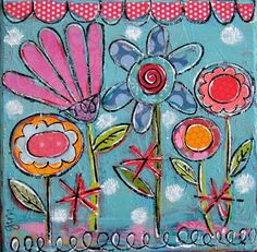 2011, Gina McKinnis Easy Flower Drawings, Folk Art Flowers, Flower Art, Paint Your Own Pottery, Scribe, Art Floral, Whimsical Art, Art Journal Inspiration, Mixed Media Collage