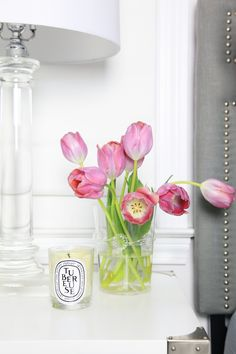 Tulips & Candle on night stand