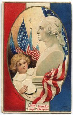 Antique Clapsaddle George Washington birthday postcard - child with statue, circa 1910