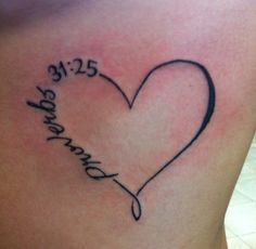 Heart design with Proverbs 31:25 on side