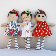 Gorgeous original handmade dolls lovingly created from vintage and recycled fabrics.These handmade dolls are made to order so you can personalise your doll to include a chosen hair colour or facial expression. Perfect as a special birthday present. Doll Toys, Baby Dolls, Sewing Crafts, Sewing Projects, Operation Christmas Child, Sewing Dolls, Soft Dolls, Fabric Dolls, Softies