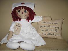 Primitive Raggedy Ann NURSE ANNIE with Stitchery Pillow. $40.00, via Etsy.