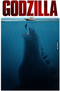 'Jaws' inspired poster for 'Godzilla' King Kong, Posters Geek, Movie Posters, Cinema Posters, Cartoon Meme, Cinema Tv, Movies And Series, Classic Monsters, Film Serie