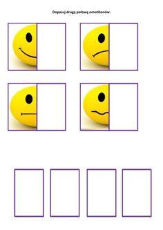Książka na dopasowywanie - EMOCJE (cz. I), karty pracy, scenariusz School Posters, Emotion, Playing Cards, Games, Centre, Socialism, Feelings And Emotions, Face Expressions, Early Education