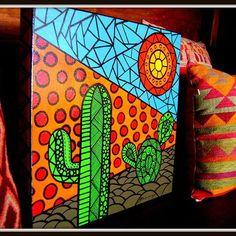 #Diseño #love #color #colorful #instafollow #followme #HechoConAmor #hechomano #handmade #arte #art #TramaDiseñoArtesanal #VillaDeMerlo Cactus Painting, Cactus Art, Diy Painting, Painting & Drawing, Painting Abstract, Acrylic Paintings, Small Canvas Art, Diy Canvas Art, Southwest Art