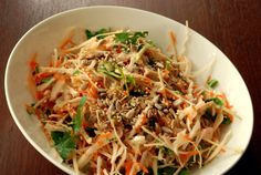 Coleslaw sounds so 1980s. I know it was probably a disservice to rename the Raw Pad Thai as Coleslaw with a Spicy Almond Dressing. I mean, coleslaw? How lame… How about cabbage salad? The wo…